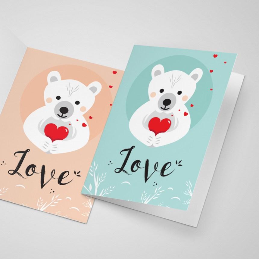 Love carte de saint valentin pour les amoureux - bear cute card