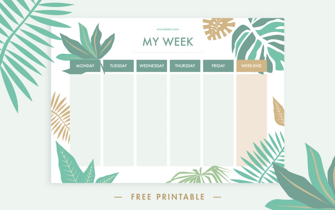 Weekly planner free printable, instant download, tropical jungle leaf, green pattern
