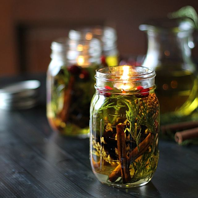 lanterne à huille et épices, bougie DIY huile, boacal, jar