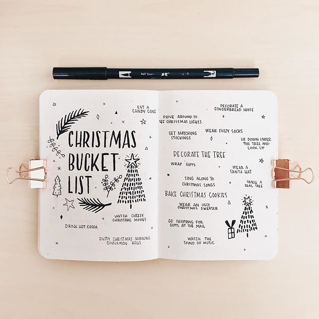 Christmas Bucket list - To do list de Noël pour Bullet Journal - Planning Noël Bujo