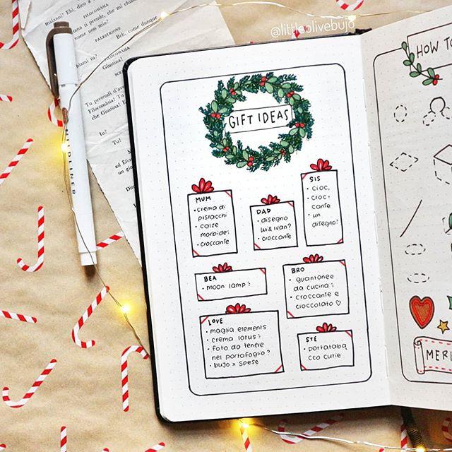 Liste de cadeaux de Noël - Wishlist - Idées cadeaux bullet journal - bujo