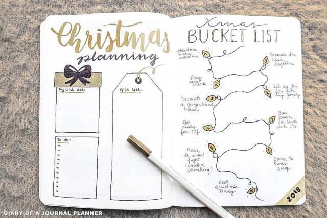 Planning de Noël - bucket list for christmas - mise en page Bullet journal to do list de Noël pour bujo