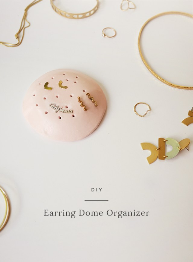 DIY porte bijoux en forme de dôme, pâte polymère. Porte boucles d'oreilles facile, bricolage fait maison. idée cadeau fête des mères.