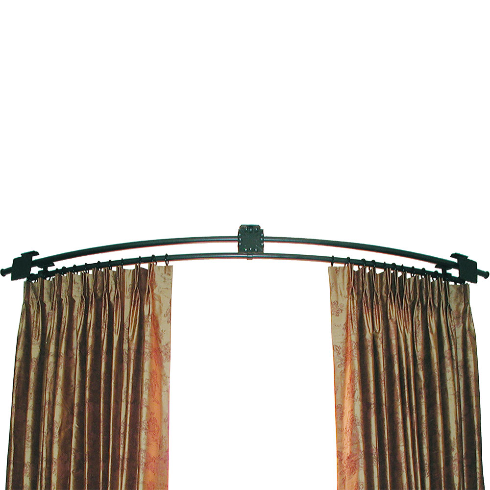 continuously curved rod ona drapery