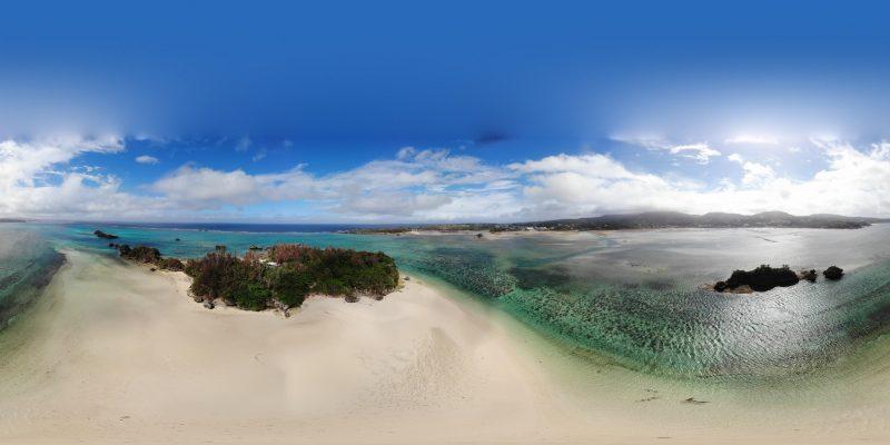 恩納村、ヨー島を空撮 初の緊急着陸でヒヤヒヤ
