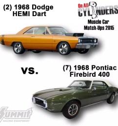 2 1968 dodge hemi dart vs 7 1968 pontiac firebird 400 [ 1000 x 1000 Pixel ]