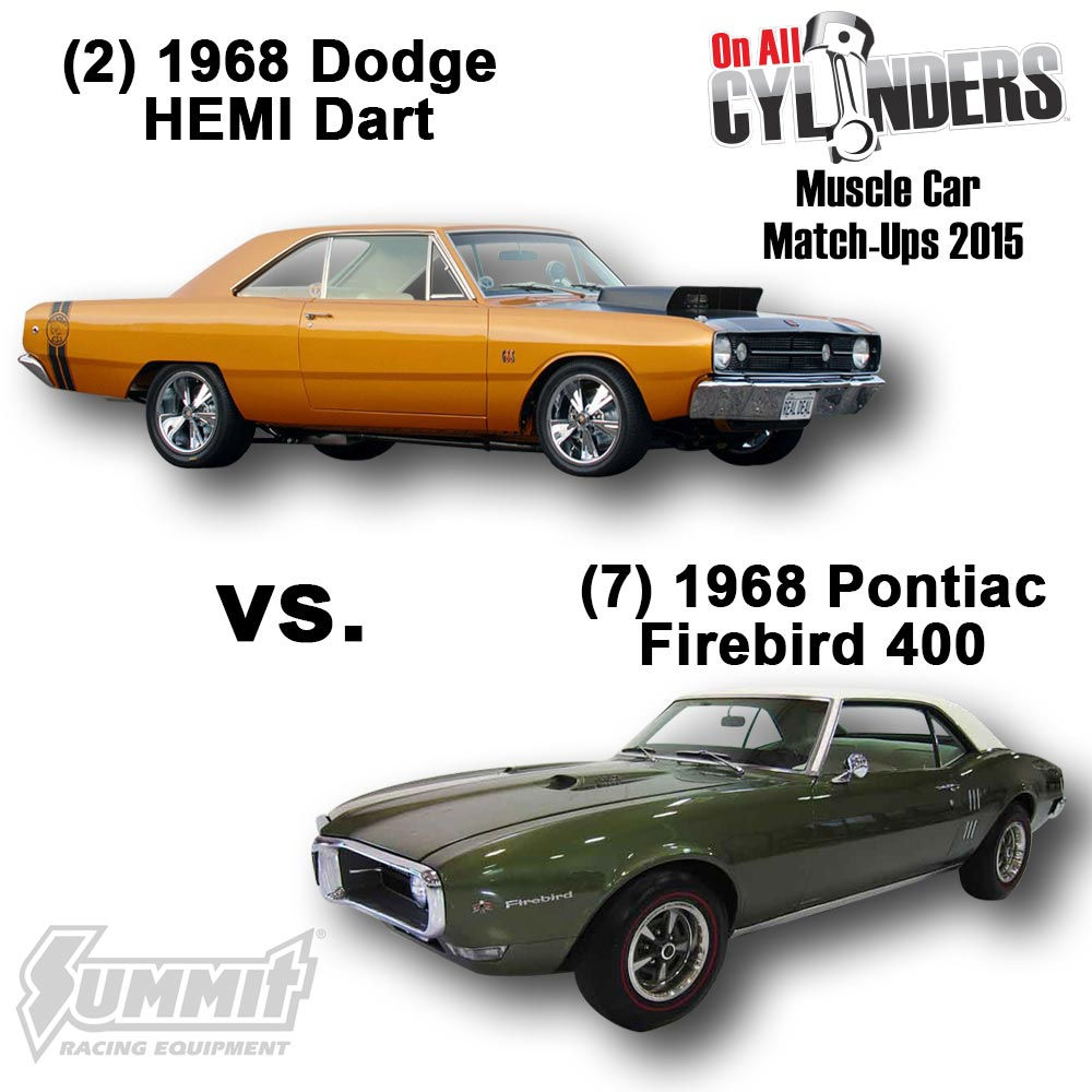 medium resolution of  2 1968 dodge hemi dart vs 7 1968 pontiac firebird 400