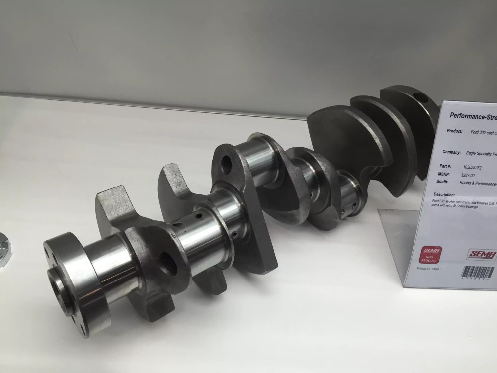 medium resolution of this 331 stroker cast crankshaft now features oe ford rod journals no need to mess with retro fit chevy bearings
