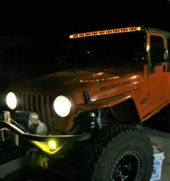 we chose amber background lighting for the overhead light bar because we feel it complements the orange paint on the jeep and almost appears orange when on  [ 1280 x 853 Pixel ]