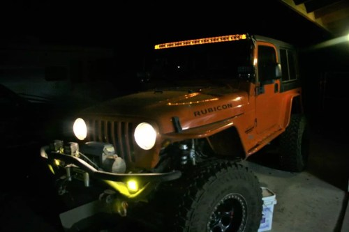 small resolution of we chose amber background lighting for the overhead light bar because we feel it complements the orange paint on the jeep and almost appears orange when on