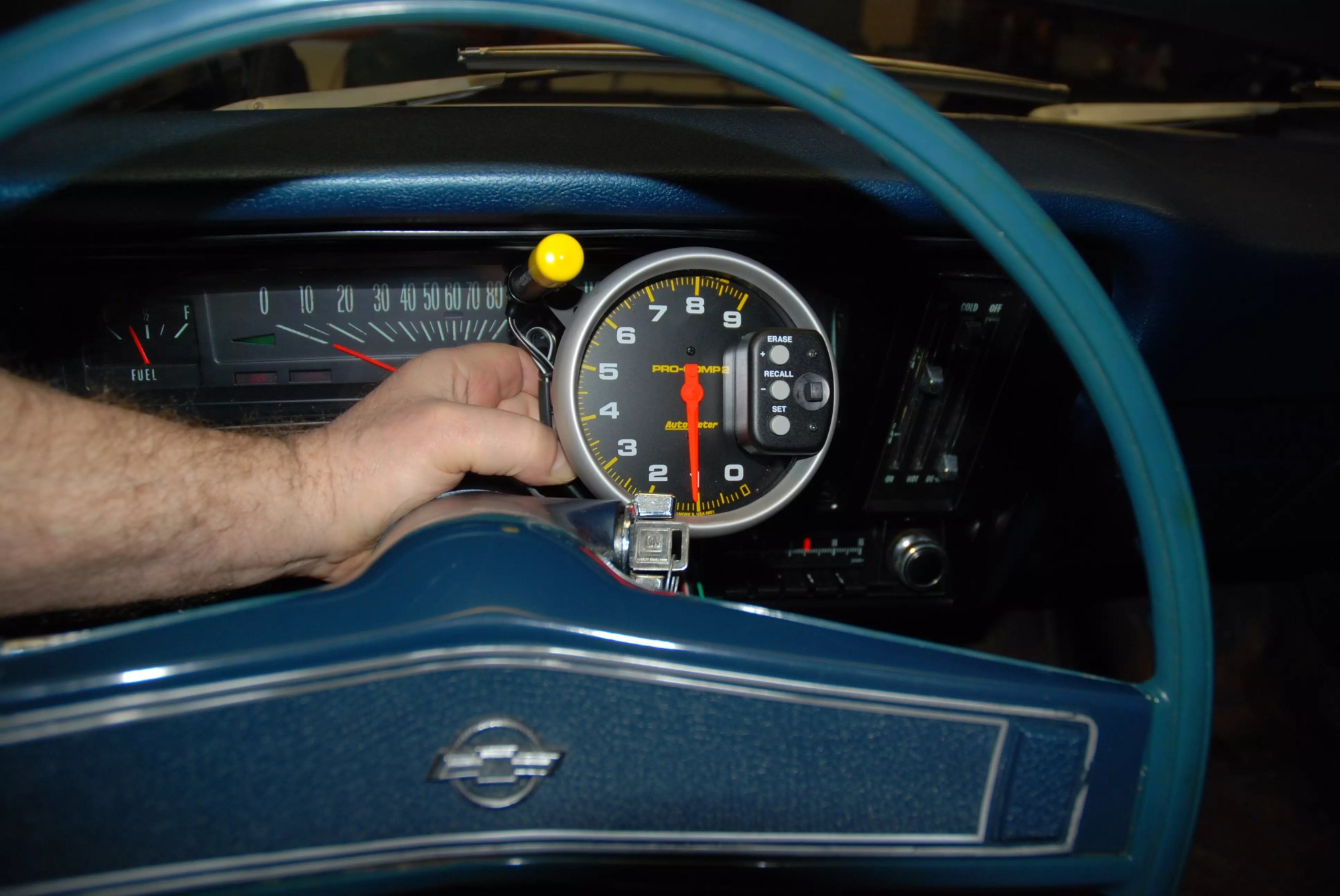 hight resolution of on the dash the tach body contacts the windshield and auto meter tells us that s not the best situation it s a bit out of the way on the left of the