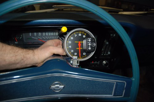 small resolution of on the dash the tach body contacts the windshield and auto meter tells us that s not the best situation it s a bit out of the way on the left of the