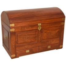 Anglo-indian Domed Camel- Trunk In Teak Wood With
