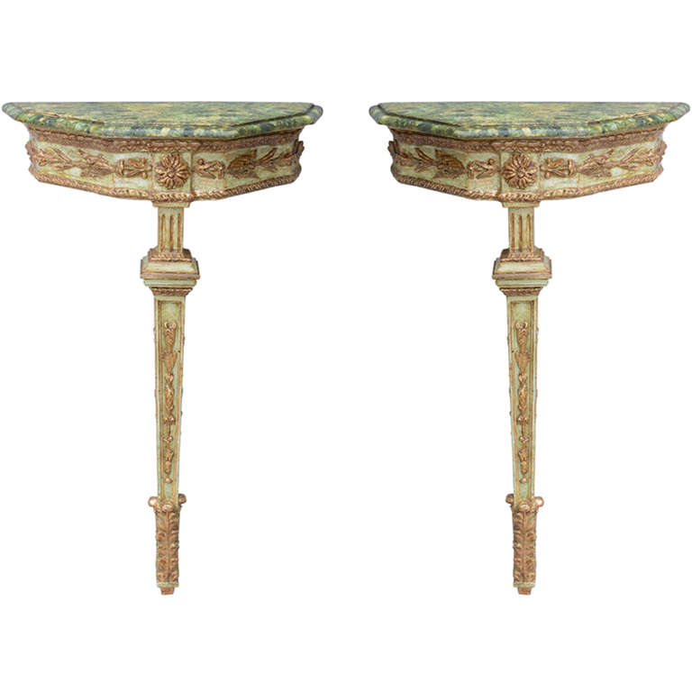 Pair of 19c Italian Single Leg Console Tables  On