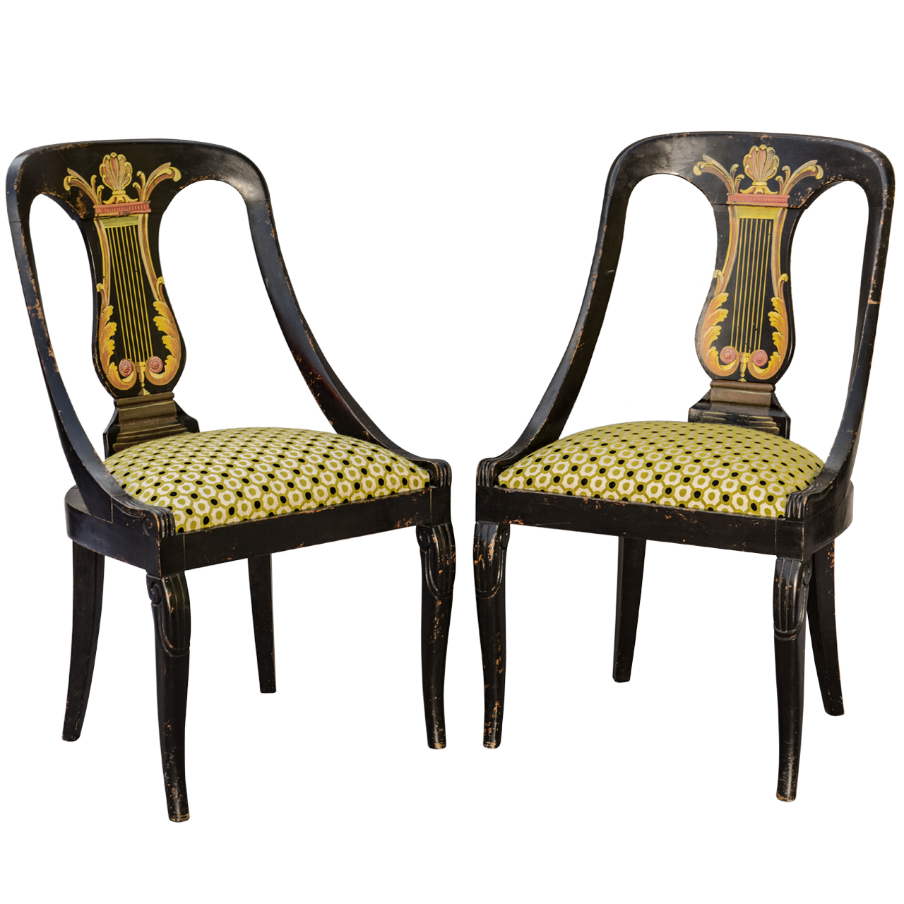 hand painted wooden chairs white chinese chippendale dining pair of regency on antique row
