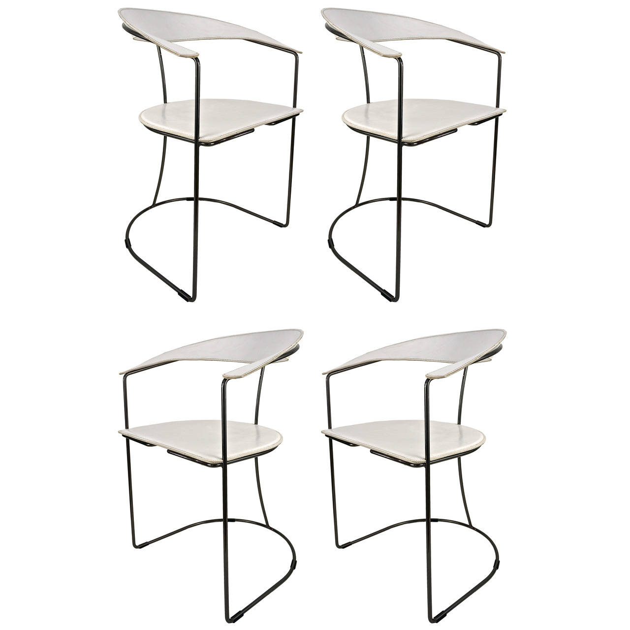 Arrben Of Italy White Leather Chairs With Gunmetal Frames