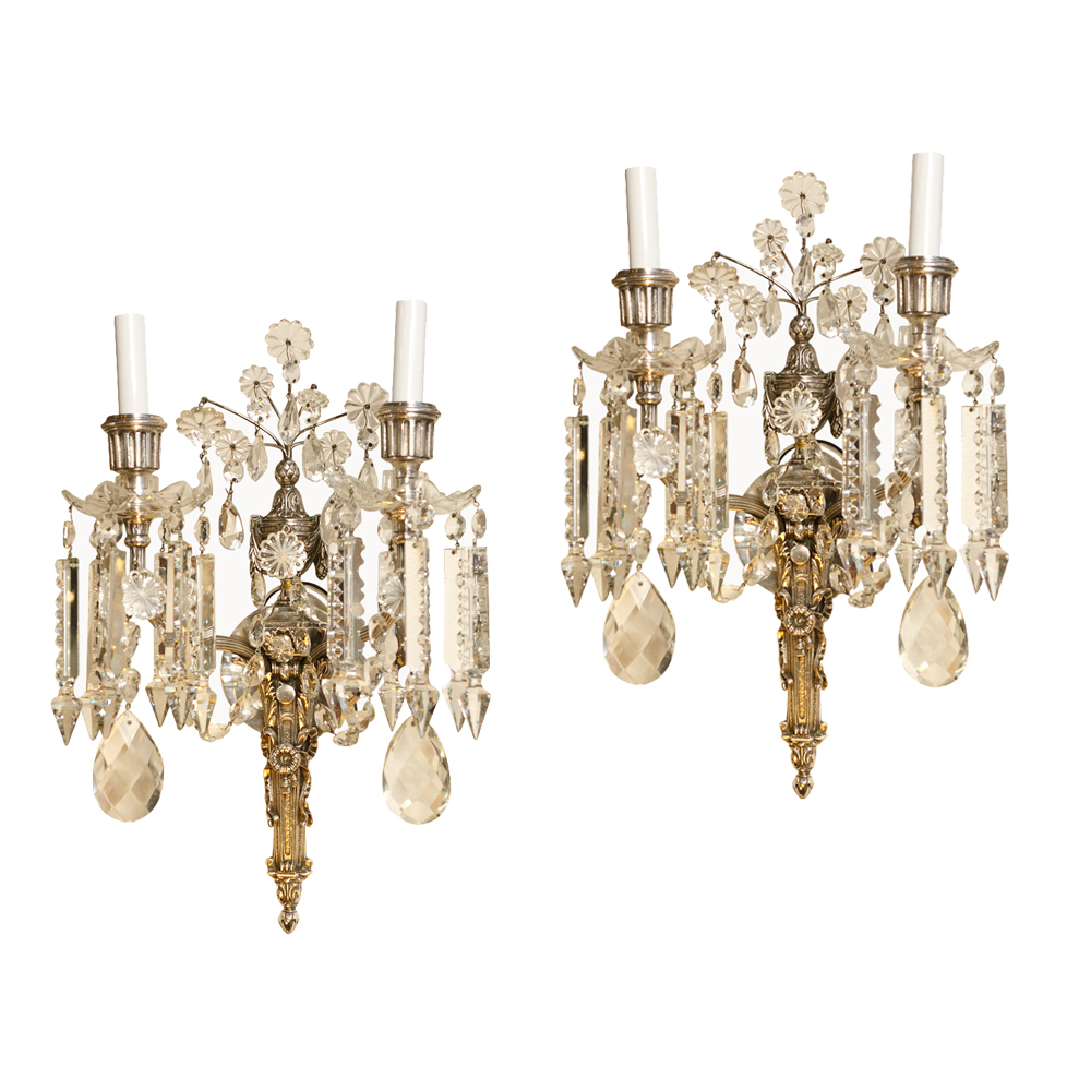 Antique French Sconces. Pair Of French Antique Crystal