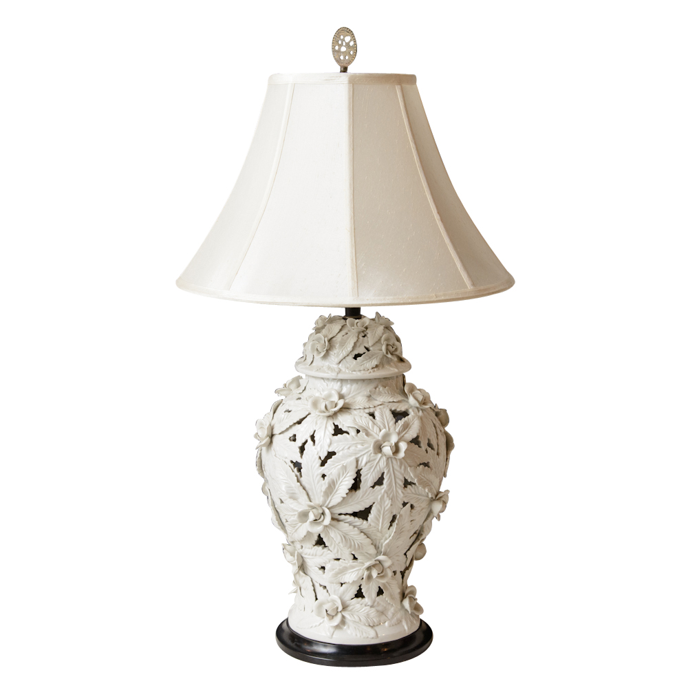Pair Of White Porcelain Lamps : On Antique Row