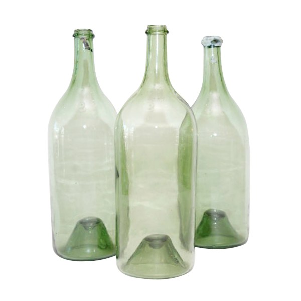 Antique Green Glass Wine Bottles
