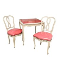 Vintage French Style Game table with two Matching Chairs