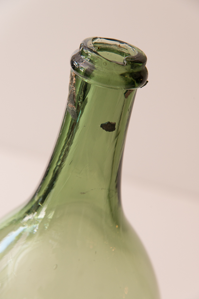 Set Of 3 Vintage French Green Glass Wine Bottles On Antique Row West Palm Beach Florida