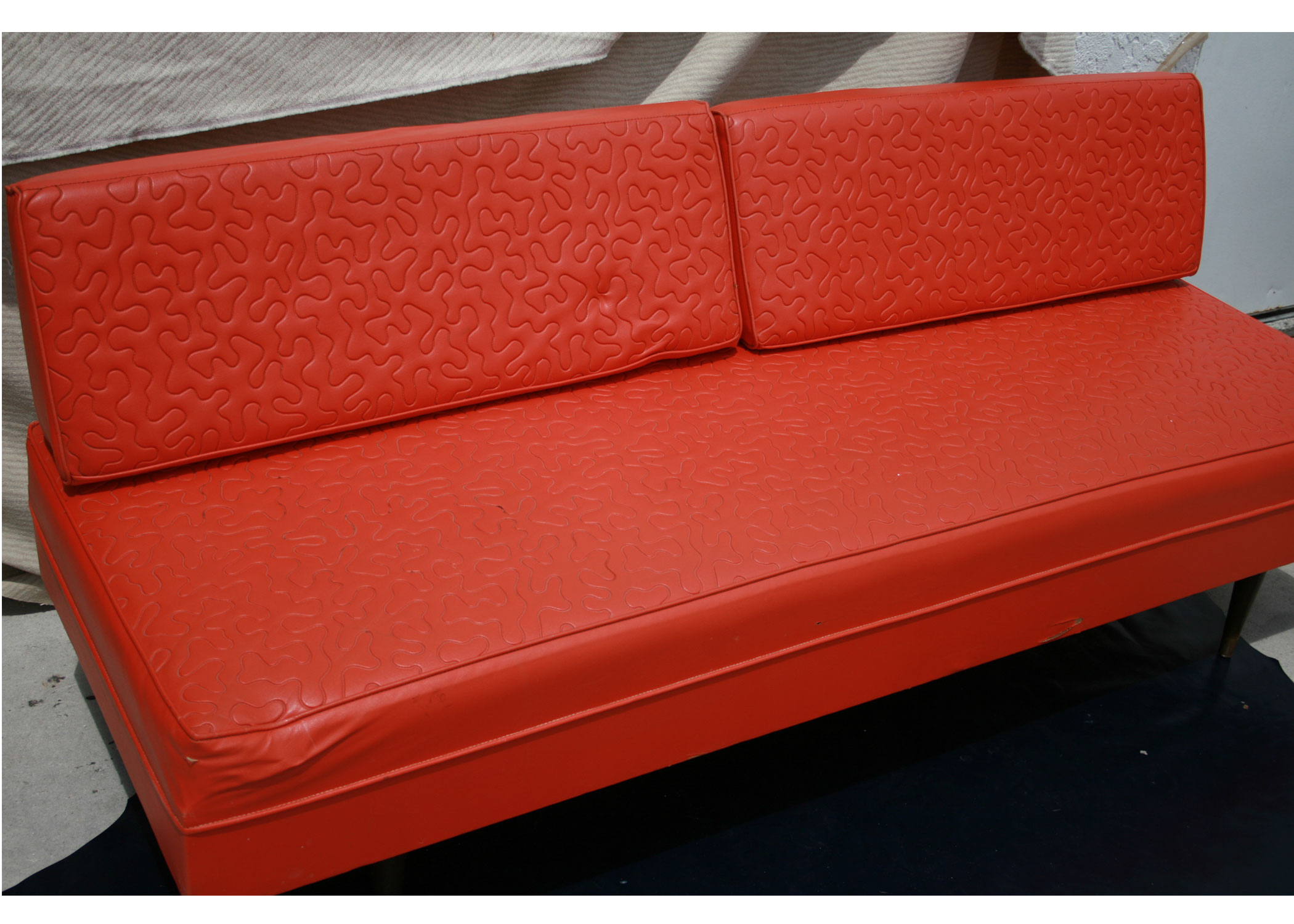 tangerine sofa jane sofair psychiatrist vintage leather oragne day bed on antique