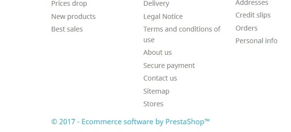 Copyright ecommerce software prestashop 1.7