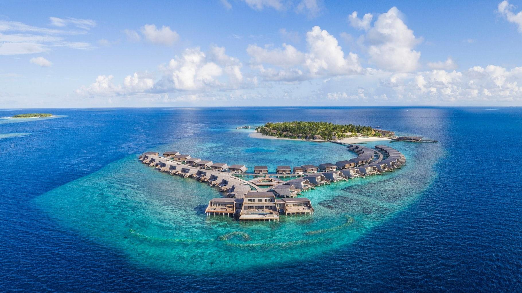 Drone shot of St Regis Maldives Vommuli Resort