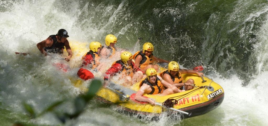 Smaller waterfall while white water rafting in Rotorua