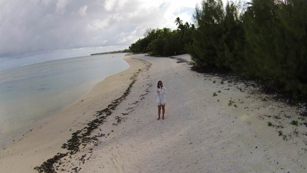 A dronie with my travel alter ego in the Cook Islands