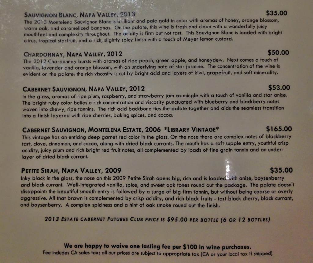 wineries in Napa Valley menu