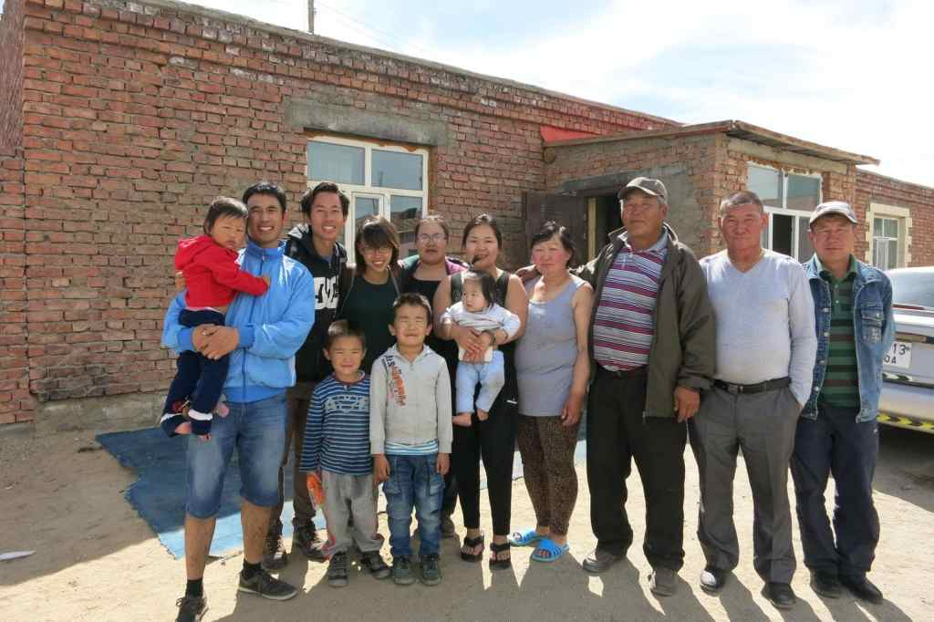 Donovan and his girlfriend, third and forth from left, with his extremely kind Mongolian host family