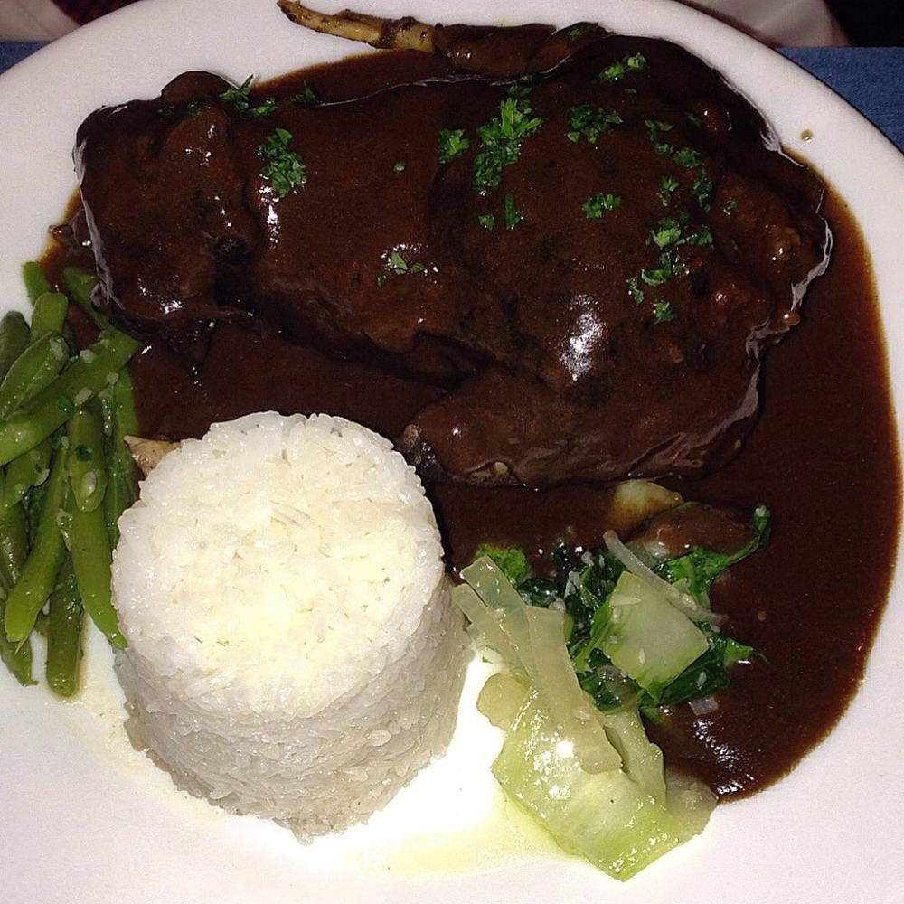 Flying fox on red wine sauce