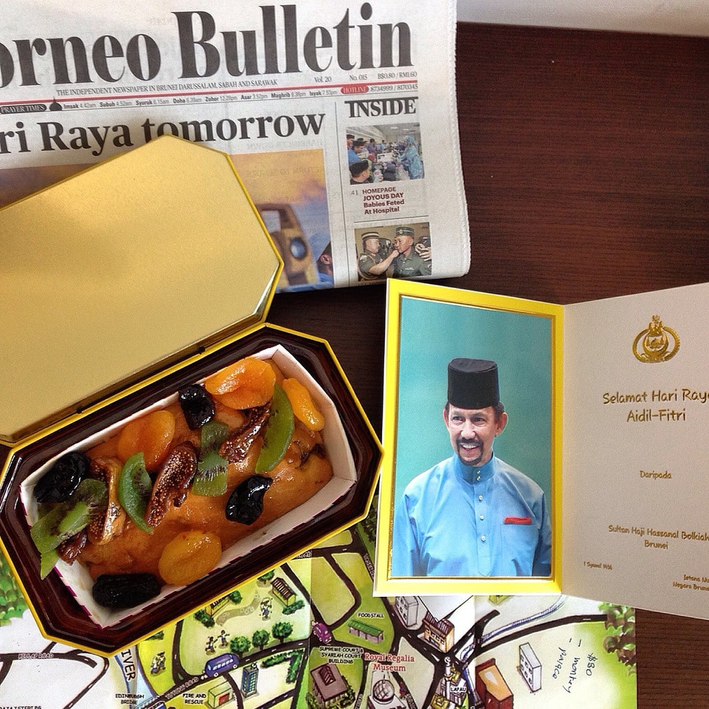 """Eid gift - Fruit cake and greetings card from the Sultan of Brunei"""