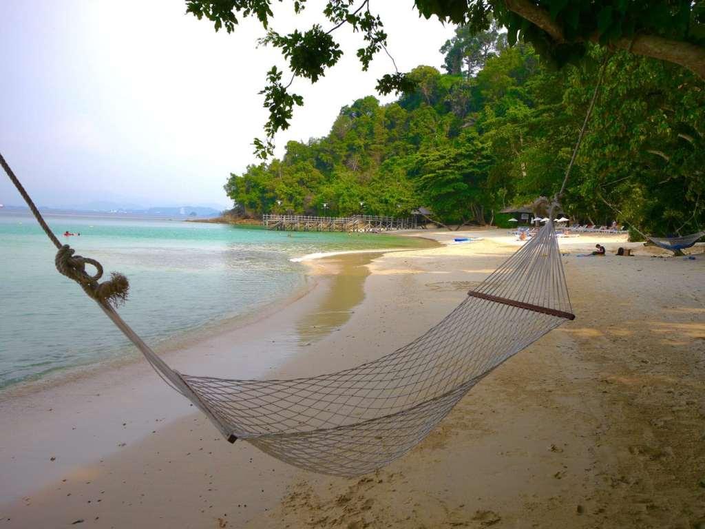 A hammock in the private beach