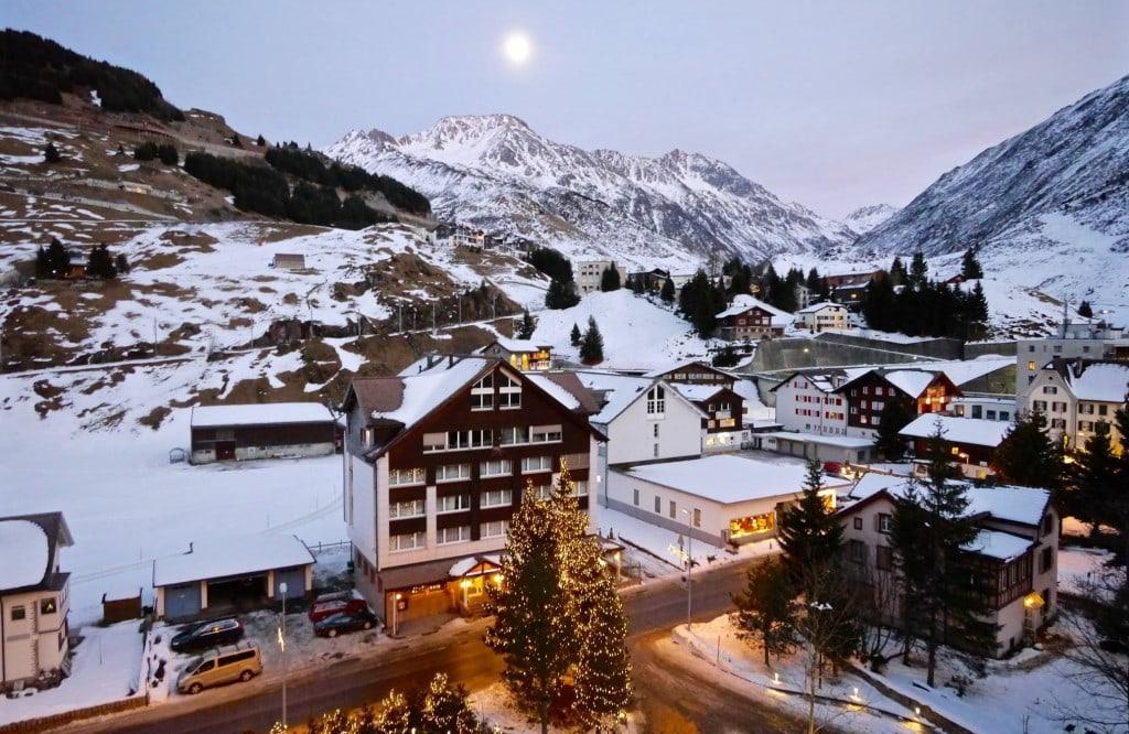 Alpine luxury Andermatt at twilight