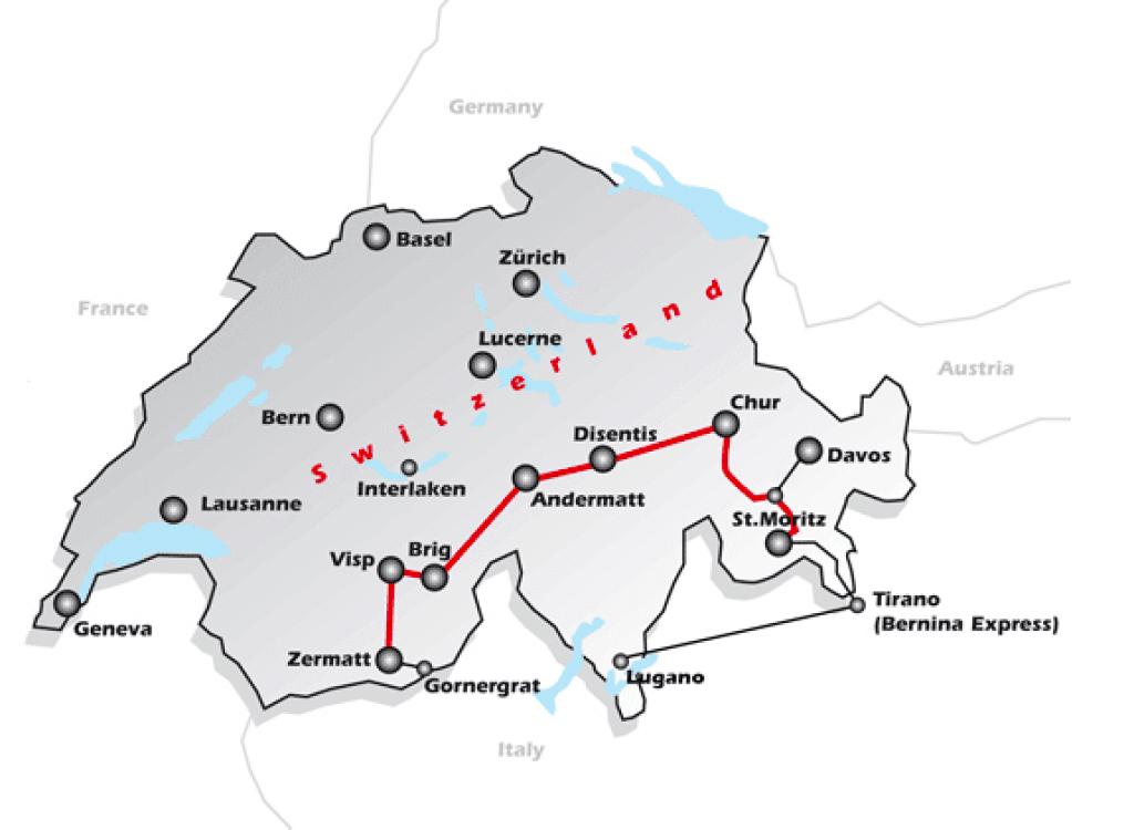 Glacier Express route.