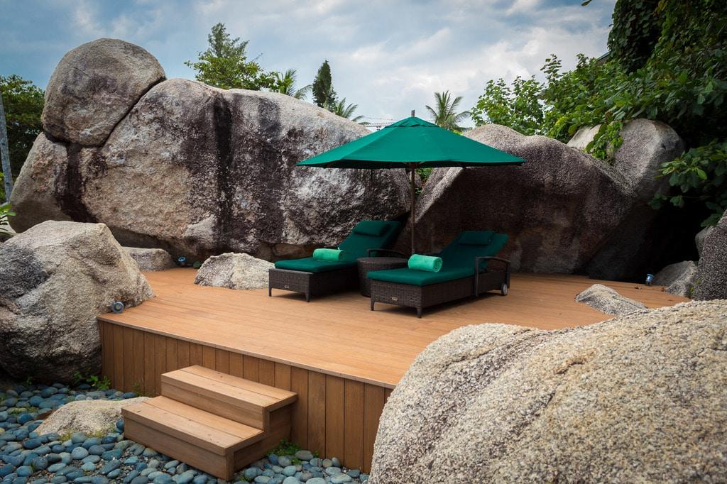 Banyan Tree Bintan pool loungers