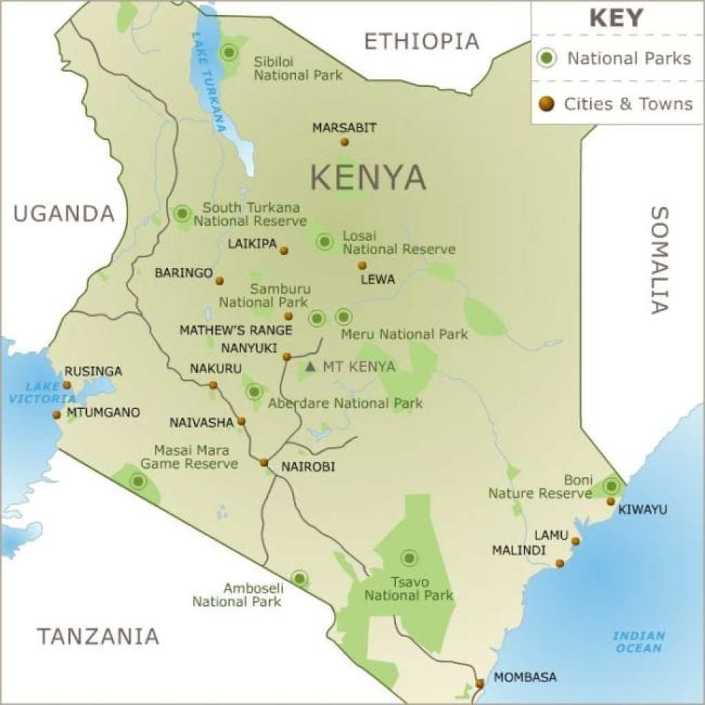 Map of Kenyan parks and reserves