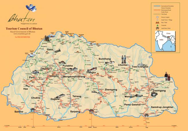 """Map of Bhutan"""