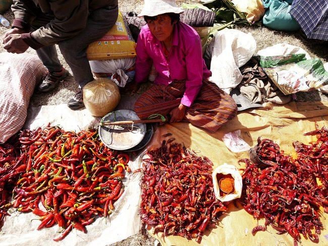"""Chillies in Punakha market'"