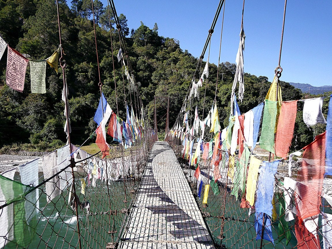 Suspension bridge to Amankora Punakha