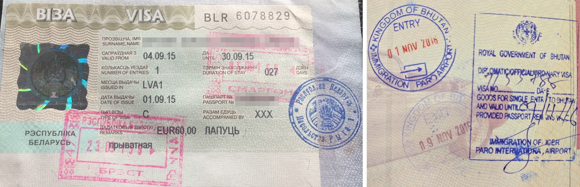 Passport stamp for Belarus and Bhutan