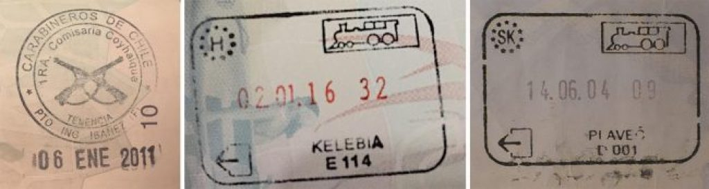 Passport stamps for Carabineros de Chile, Kelebia and Slovakia by train