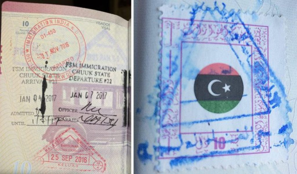 Passport stamps for FSM and Libya