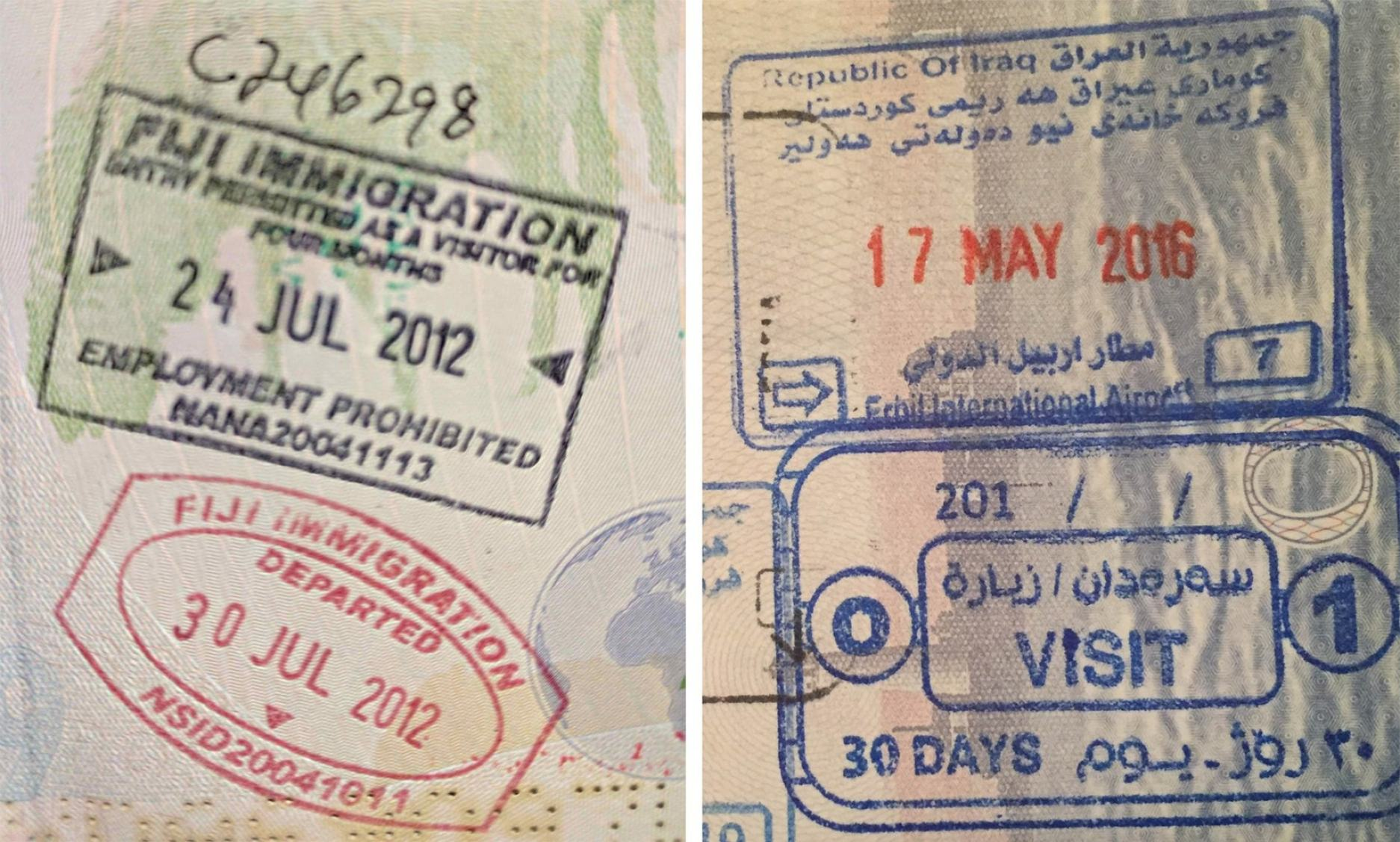 Passport stamp for Fiji and Iraq
