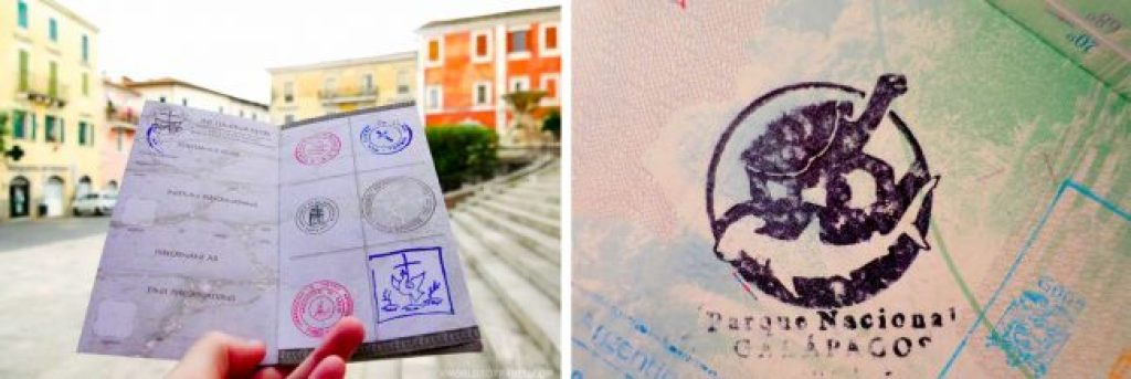 Passport stamps for Via Francigena and Galapagos
