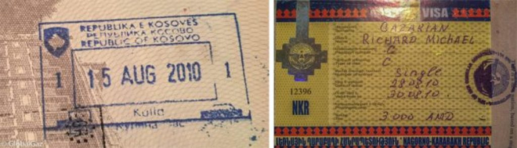 Passport stamps for Kosovo and Nagorno-Karabakh