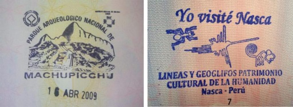 Passport stamps for Machu Picchu and Nazca