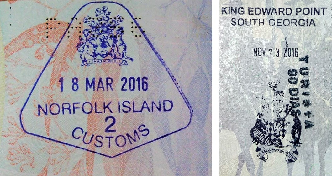 Passport stamps for Norfolk Island and South Georgia